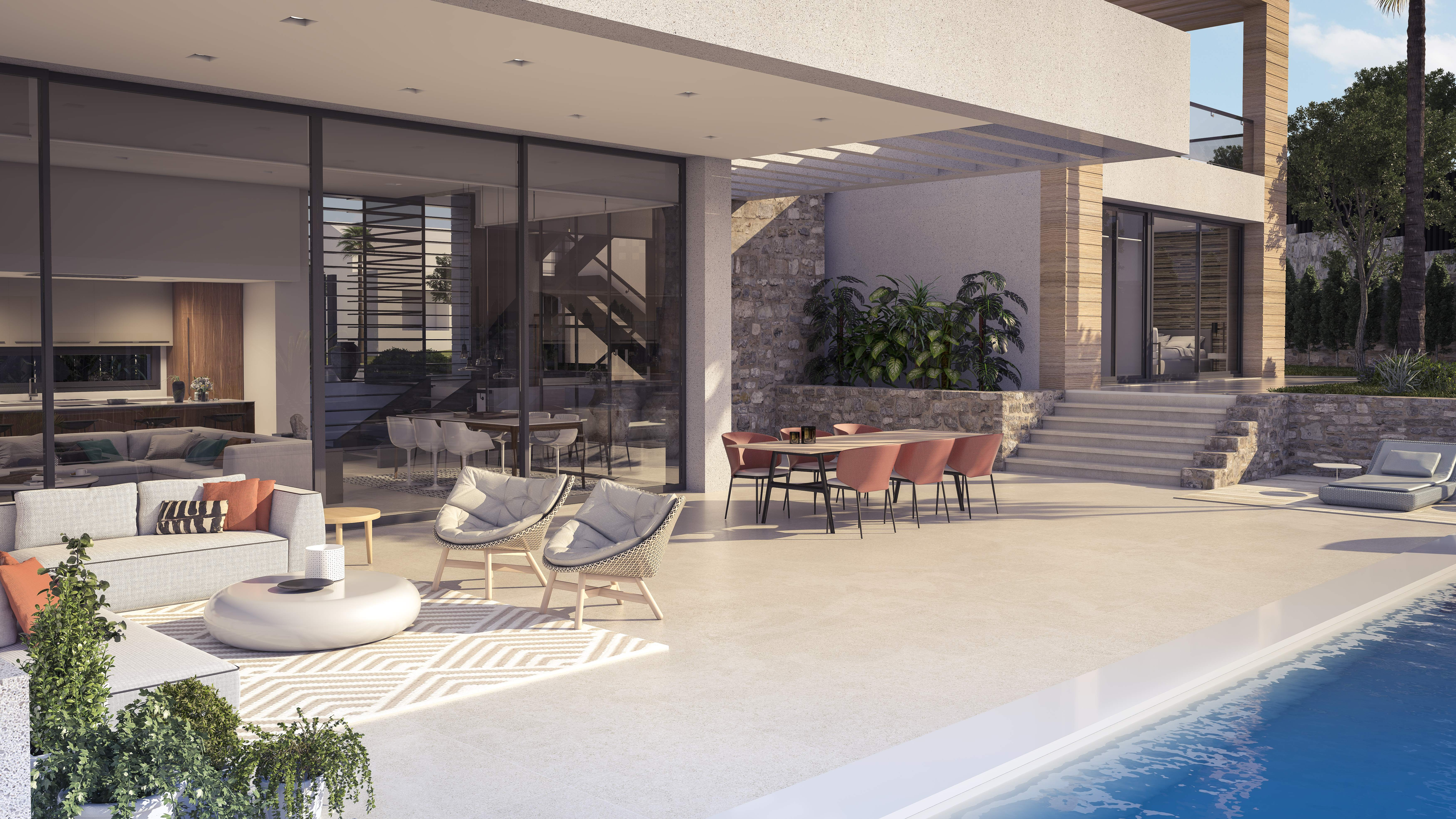 Terrace and pool area