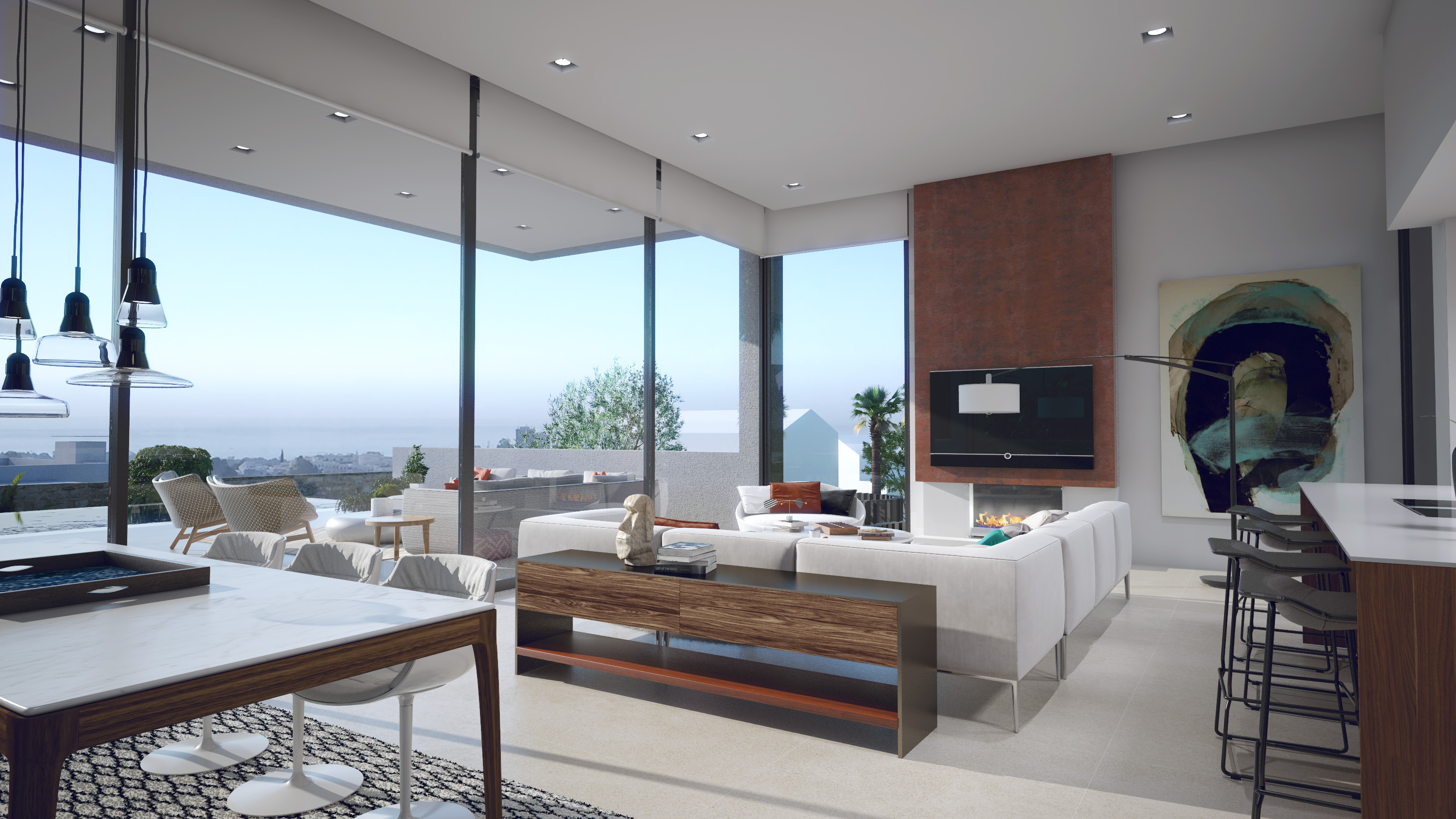 Living area with floor-to-ceiling windows