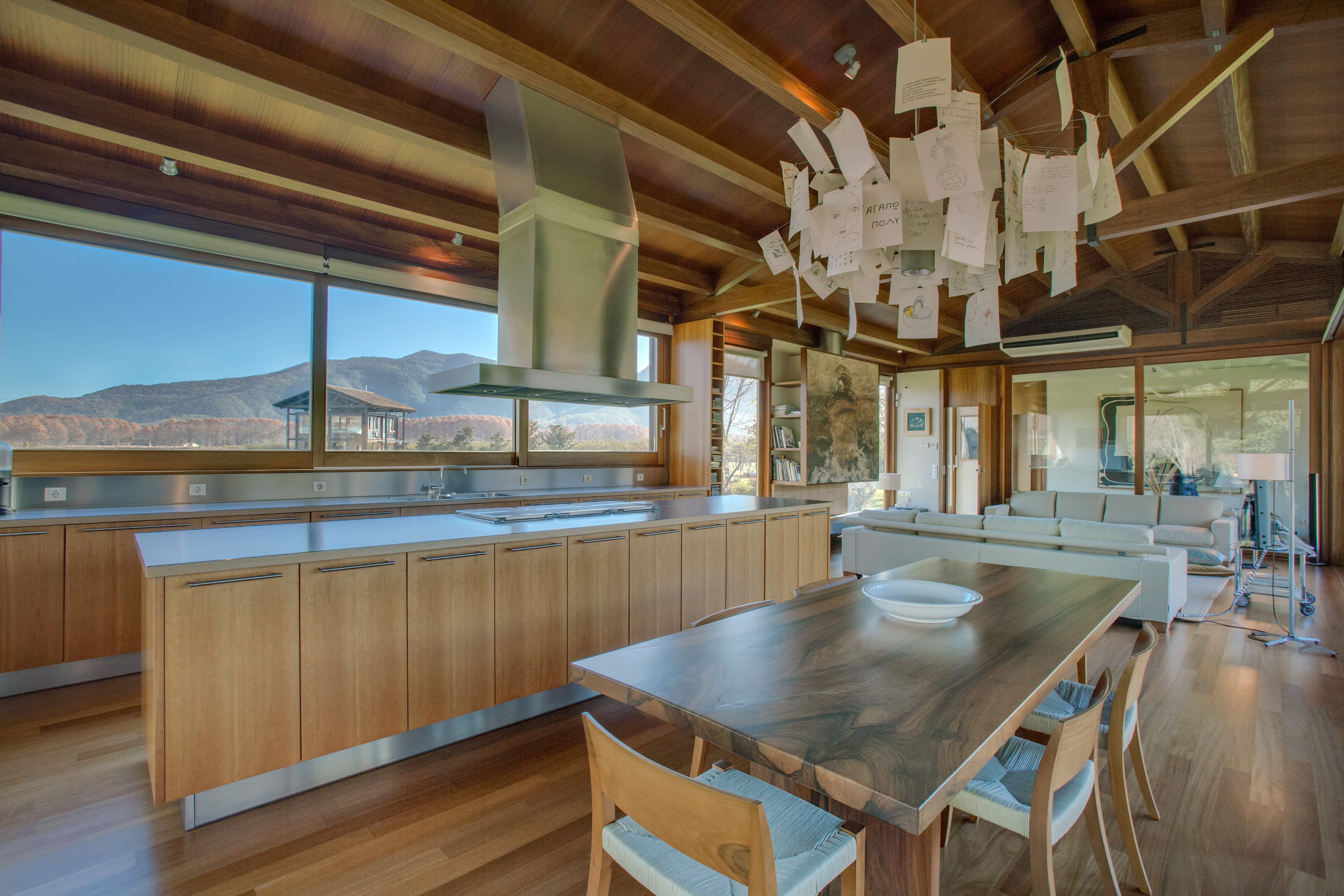 Large kitchen with country views