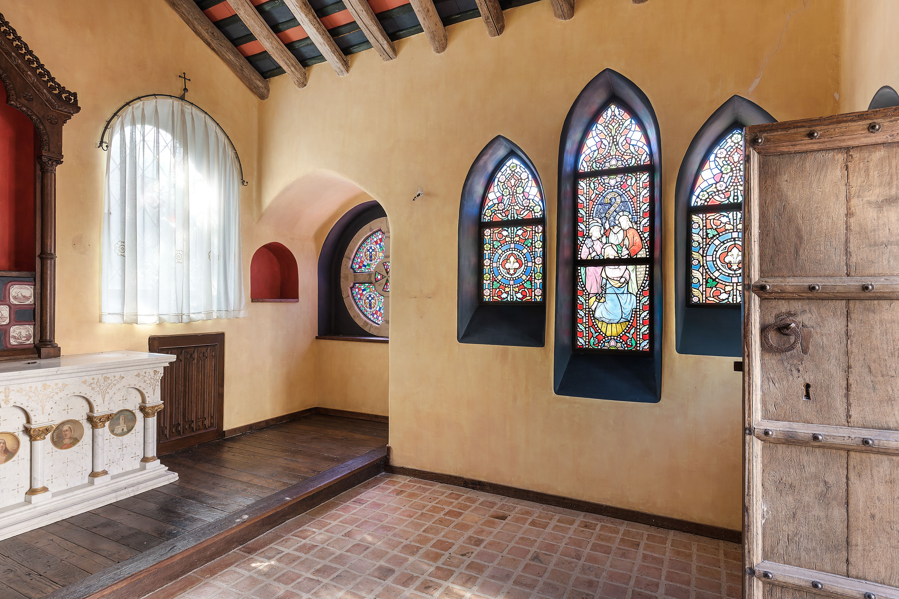 Private chapel with stained glass windows